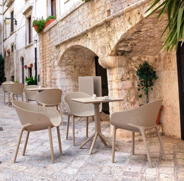 Moderna Stolica za baštu Sky klasičnog dizajna, udobna, bež boje - internet prodaja - Commodo Home & Living
