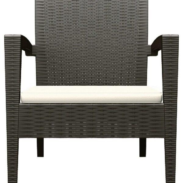 Moderna Baštenska garnitura - Fotelja MIAMI sa jastukom klasičnog dizajna, kvalitetna , braon boje - internet prodaja - Commodo Home & Living