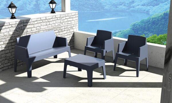 Moderni Baštenska garnitura - Klub sto Box klasičnog dizajna, kvalitetan , crne boje - internet prodaja - Commodo Home & Living