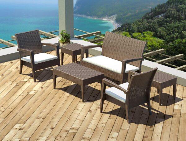 Moderni Baštenska garnitura - Klub sto MIAMI Veliki klasičnog dizajna, kvalitetan , braon boje - internet prodaja - Commodo Home & Living