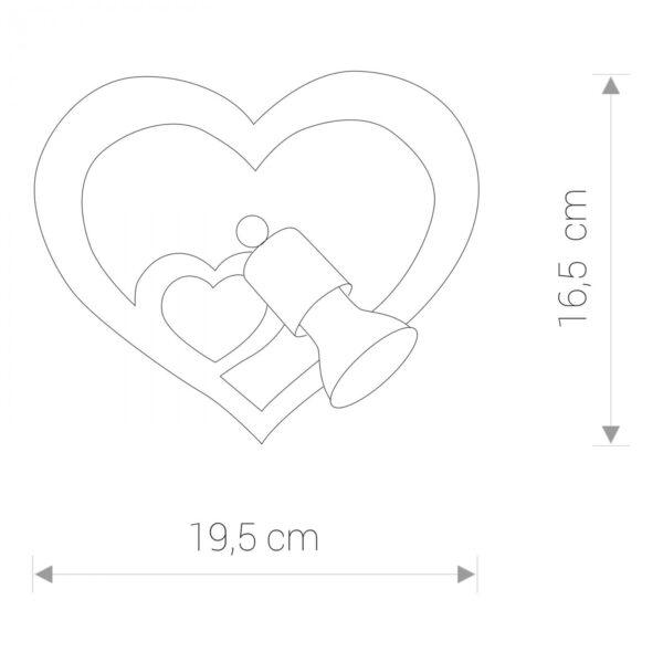 Zidna lampa - HEART - modernog dizajna,kvalitetna, ljubičaste boje - online shop - Commodo Home & Living