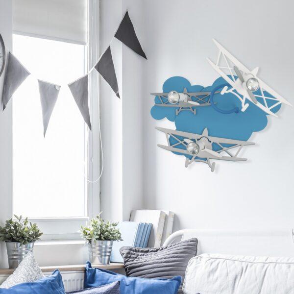 Moderna Plafonsk Svjetilka Plane modernog dizajna,kvalitetna , plave i sive boje - online shop - Commodo Home & Living