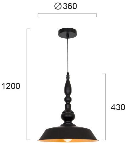 Visilica - COLIN modernog dizajna,kvalitetna, crne boje - internet prodaja - Commodo Home & Living