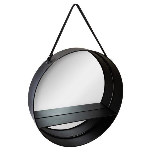 Moderno Viseće metalno ogledalo Ceinture D55 Aksesoari neobičnog dizajna, kvalitetno , crne boje - internet prodaja - Commodo Home & Living