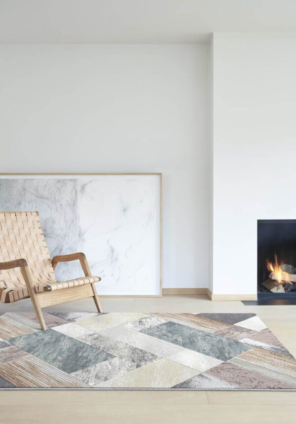 Moderni Tepih Argentum modernog dizajna i čudesnih bojasa geometrijskim motivima - online shop - Commodo Home & Living