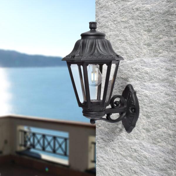Moderna Spoljna zidna lampa ANNA-BISSO klasičnog dizajna, crne boje - internet prodaja - Commodo Home & Living
