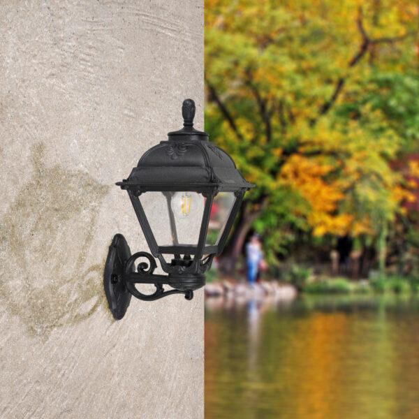Moderna Spoljna zidna lampa BISSO CEFA klasičnog dizajna, crne boje - internet prodaja - Commodo Home & Living
