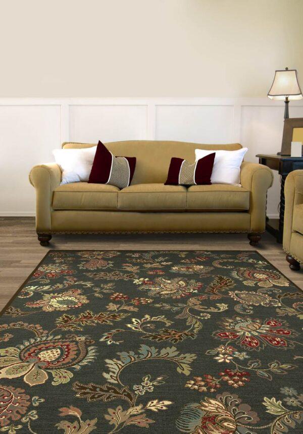 Moderni Tepih Genova elegantan,jedinstven sa reljefnim dezenom i biljnim motivima - internet prodaja- Commodo Home & Living
