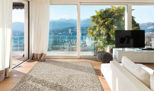 Moderni Tepih Genova elegantan,jedinstven sa reljefnim dezenom braon boje - internet prodaja- Commodo Home & Living