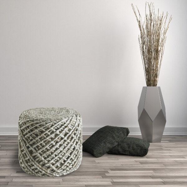 Moderni Tabure My POUF ROYAL - Ivory modernog dizajna, udoban , bijele boje - online shop - Commodo Home & Living