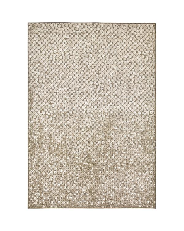 Moderni Tepih Genova elegantan,jedinstven sa reljefnim dezenom i biljnim motivima , bež boje - internet prodaja- Commodo Home & Living